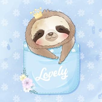 Милый ленивец сидит в кармане