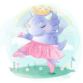 Милый динозавр танцует балет
