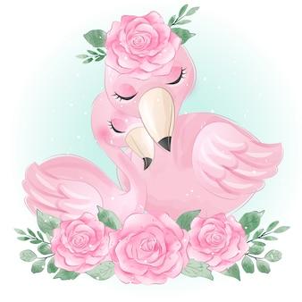 Милый фламинго мама и малыш