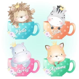 かわいいライオン、シマウマ、カバ、フォクシーはコーヒーカップの中に座っています。