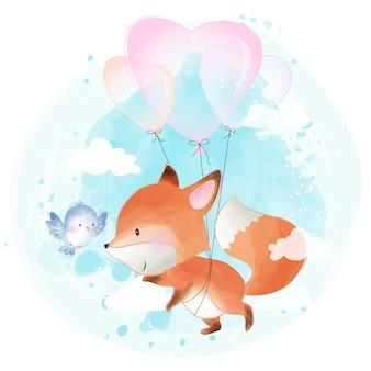 Милый маленький лисенок летит с любовным воздушным шаром