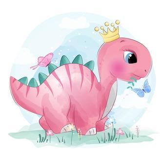 Милый маленький динозавр играет с бабочками