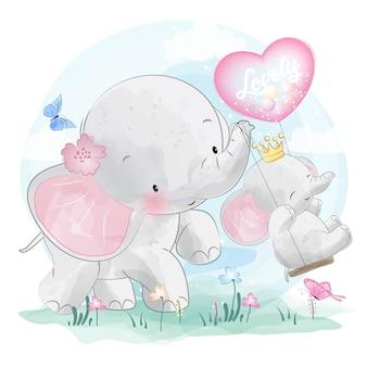 かわいい象の母親と赤ちゃん