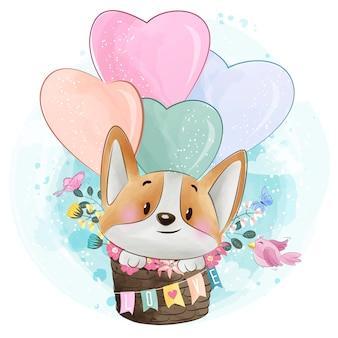 ハート形の風船で飛んでいるかわいい犬