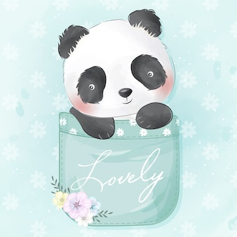 Милая маленькая панда в кармане