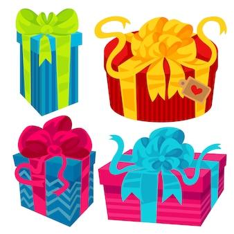 Подарочная коробка с лентами и бантами, красивая подарочная упаковка.