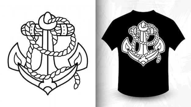 Якорь, идея для футболки в монохромном стиле