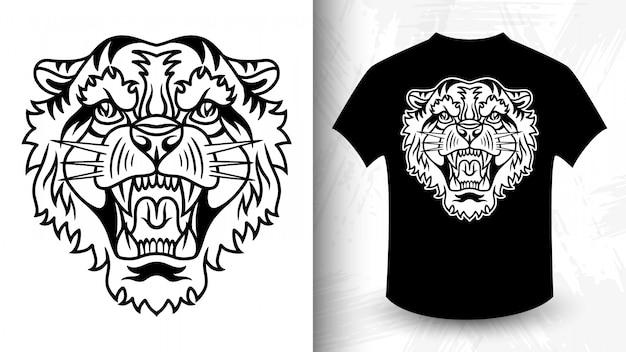 Лицо тигра, идея для футболки в монохромном стиле