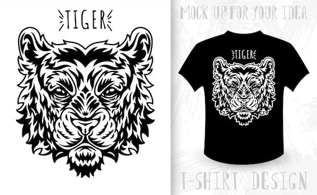 Тигровое лицо. идея футболки с принтом в винтажном монохромном стиле.