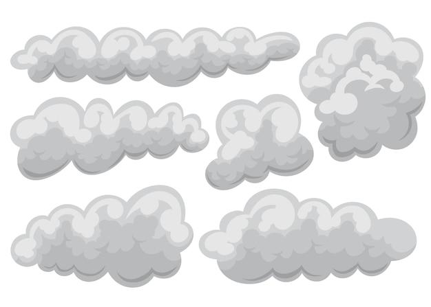 Набор пасмурно и облака значок в мультфильм и плоский стиль.
