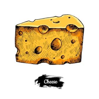 チーズの手描き。