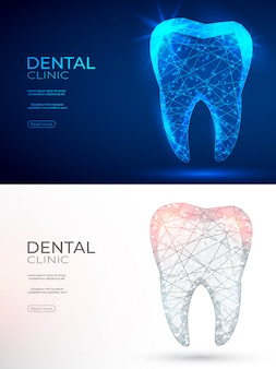 Зуб полигональной генной инженерии абстрактный фон.
