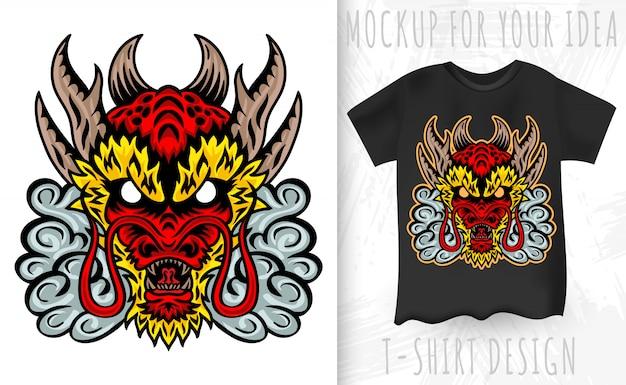 Дракон японское лицо. элемент дизайна