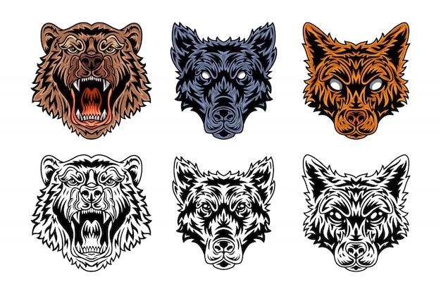 Животное лицо медведь, волк, лиса винтажном стиле ретро.
