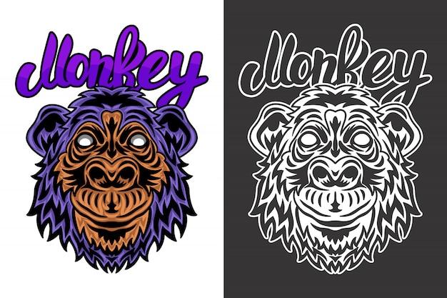Урожай животных лицо обезьяны иллюстрации