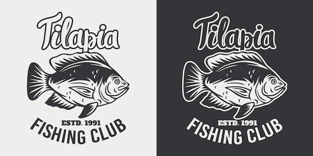 Винтажная иллюстрация рыб тилапии эмблемы ретро изолированная на белизне.