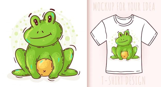 Мультфильм милый лягушка дизайн футболки