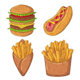 手描き落書きファーストフードセット。バーガー、ホットドッグ、フライドポテト。