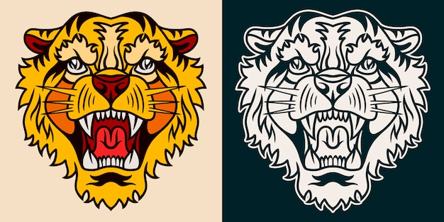 タイガーオールドスクールの手描きのレトロなスタイル。
