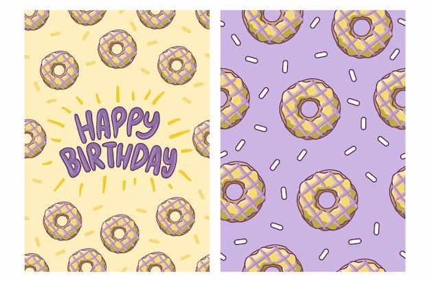 ドーナツパターンの誕生日お祝いカード