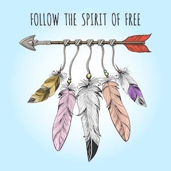 インディアンの矢印と羽のロゴ