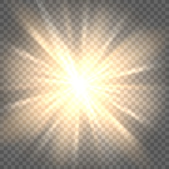透明な背景に太陽光線