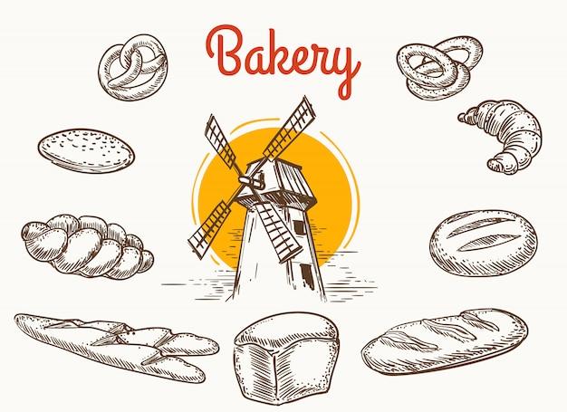 ヴィンテージの伝統的なベーカリー製品のスケッチ