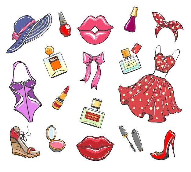 女の子ファッションの手描きの要素