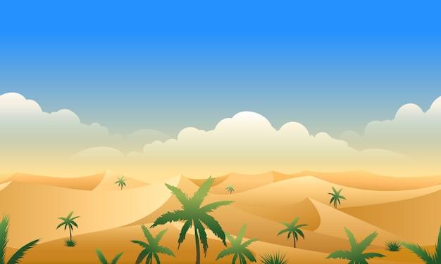 砂漠のパノラマ水平シームレスパターン