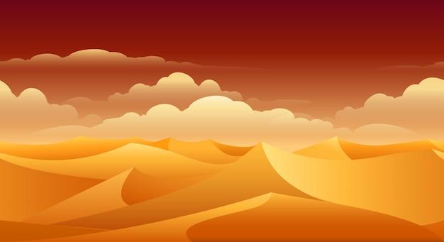 サハラ砂漠の砂丘のパノラマ
