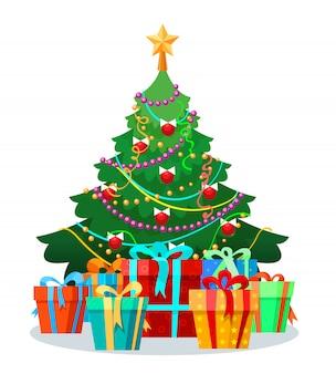 電球とギフトのクリスマスツリー