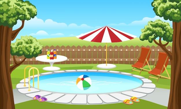 フェンスとパラソル付きの裏庭のプール