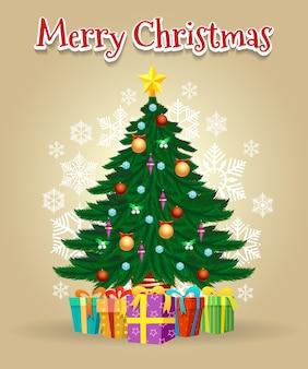 メリークリスマスツリーグリーティングカード