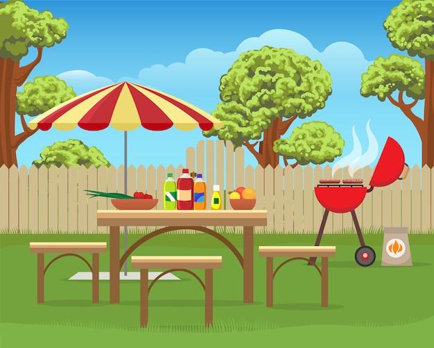 夏の裏庭の楽しいバーベキュー