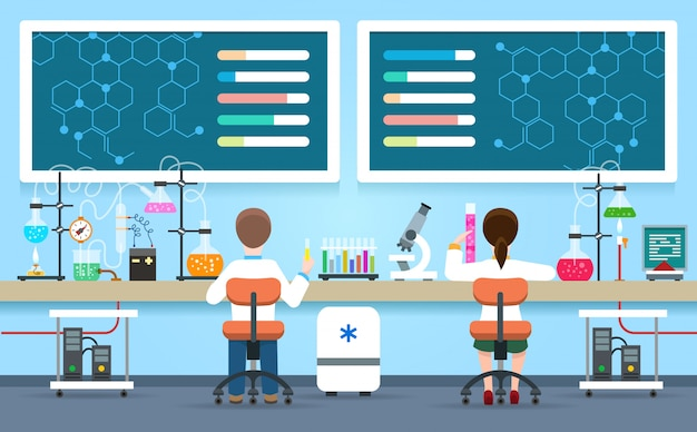 Ученые проводят исследования в лаборатории