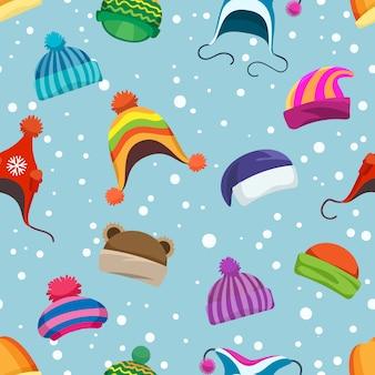 レトロな冬の帽子のシームレスパターン