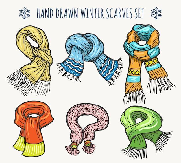 Зимний вязаный шарф из шерсти