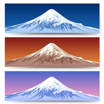 Снежная гора фудзи баннеры