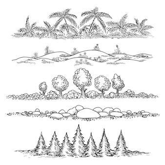 Природа линии пейзаж набор