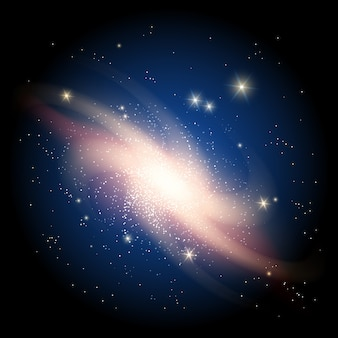 輝く星と銀河の背景