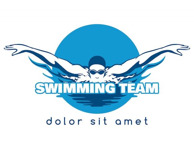 水泳チームのベクトルのロゴ
