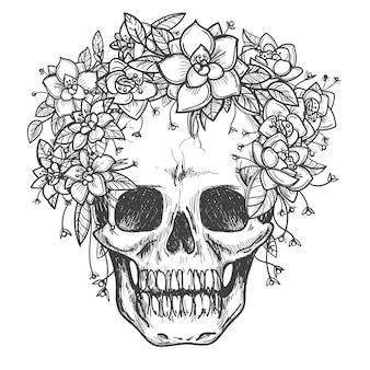 バラの花のスケッチで死んだ頭蓋骨