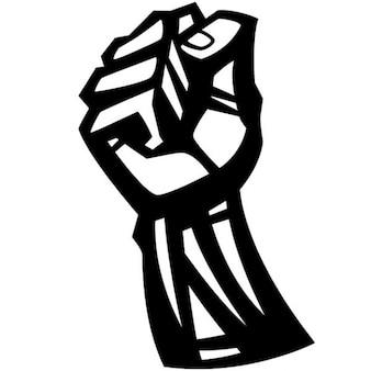 拳食いしばっ抗議のシンボルのイラスト