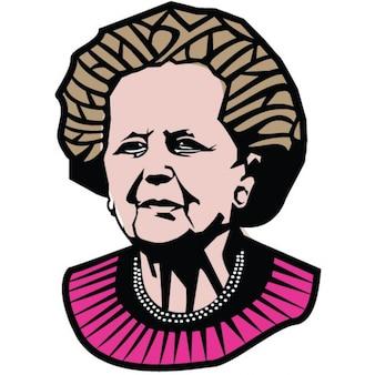 マーガレット·サッチャー首相のイラスト肖像