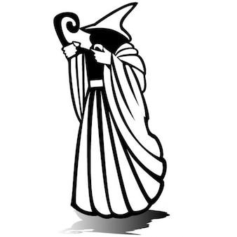 神秘的なウィザードのシルエットのベクトル図