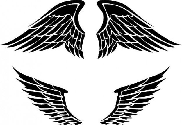 二つの翼のデザインのセット