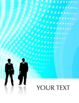 Синяя пунктирная фон с силуэты двух бизнесменов