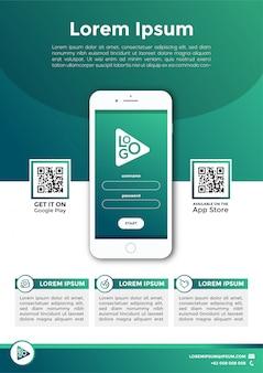 グリーンモバイルアプリプロモーションチラシベクトル