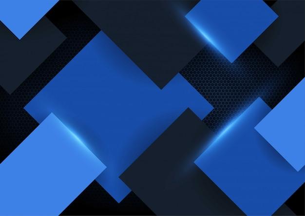 波状メッシュバックグラウンドで青い光