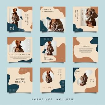 Квадратная мода социальные медиа пост-дизайн коллекции
